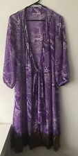 Ladies Vintage Dressing Gown Nevenka Size 12 Long Floral Purple Australian Made