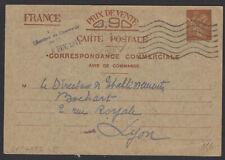 Carte Interzone 0,90 Iris « Correspondance Commerciale » de Brest Oblt PARIS RP