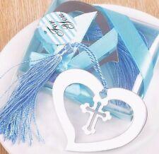 HEART CROSS BOOKMARK TASSEL Bridal Wedding Blue Silver Metal Heart GIFT BOX NEW