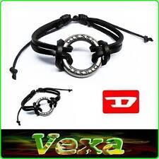 New DIESEL Bracelet RING Genuine Leather Black Bangle Wristband Men's Surf BD28