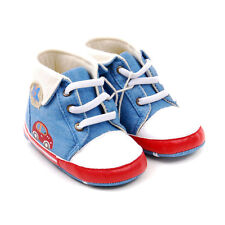 New Baby Boy blue & White Boots crib shoes 0 - 6 Months