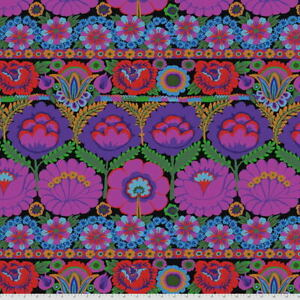 Kaffe Fassett Lge Scale Embroidered Flower Border PWGP185.PURPLE Cotton Fab BTY