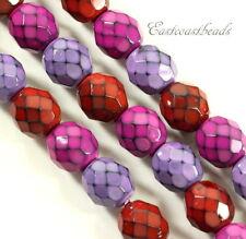 Round Snake Beads, 8mm, Berry Mix, Fire Polished Finish, Czech Beads, 22 Pcs