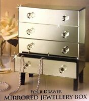 Beautify 4 Drawers Mirrored Glass Jewellery Jewelry Mirror Box Storage Organiser