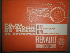 Renault R77 R78 tracteur Master : catalogue pièces d'origine PR742-3