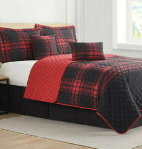 MODERN.SOUTHERN.HOME MARTIN BUFFALO PLAID RED BLACK 6 PC. QUEEN QUILT SET