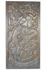 Wall Sculpture Maa Durga Hand Carved Panel Fighting with Evil Powers WallHanging
