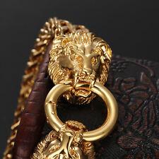 89g Gold Stainless Steel Lion Head Clasp Bracelet Biker Jewelry Men's Bangle 9''