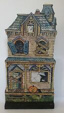 "RETRO HALLOWEEN HAUNTED HOUSE 9.5"" TABLE WOOD DECORATION PLAQUE"