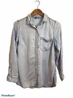Old Navy The Tunic Shirt Denim Wash Long Sleeve Button Up Shirt Medium Collared