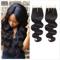 Real Brazilian Hair Straight Body Wave 4x4'' Free/Middle/Three Part Lace Closure