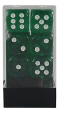 12 Translucent Green w/ White d6 Dice Block - Chessex 16mm  - CHX 23605