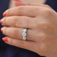 14K SOLID WHITE GOLD ROUND CUT MOISSANITE DIAMOND ENGAGEMENT RING BRIDAL 1.70CTW