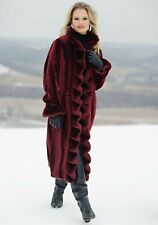 Victorian Trading Co Faux Fur Broadtail Burgundy Coat Sz M 21R