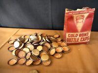 Vintage Gold Bond Bottle Caps w original box tarnshed as is Bottling Soda Pop