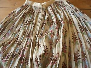 Antique 19thc Block Printed Floral Cotton Fabric Skirt ~ Aged but so Charming!