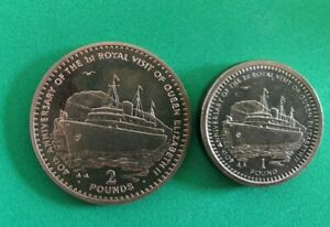 Gibraltar 1994 Royal Visit £2 Two Pounds, £1 One Pound Set