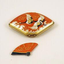 New French Limoges Trinket Box Gorgeous Red Fan Crane Birds & Miniature Rem Fan