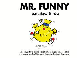 Funny Mr Men Birthday Card Mr Funny, Dad , Brother, Boyfriend, Husband