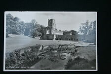 Vintage B&W POSTCARD FOUNTAINS ABBEY From The West