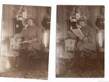 PHOTO ANCIENNE Costume Déguisement 1920 Travesti Drôle Soldat Garçonne Militaire