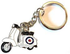 RAF Target Roundel White Scooter Metal Enamal Keyring MOD Scooterist Lammy