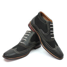New Men's Black Ferro Aldo Ankle Boots Wing Tip Suede/Leather Lace Up NEW 806007