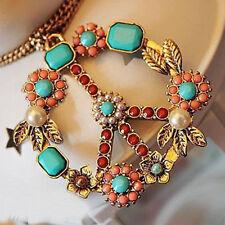 Women Fashion Vintage Peace Symbol Pendants Necklace Long Sweater Chain