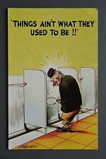 R&L Postcard: Bamforth 975 Old Man in Toilet Urinal, Magnifying Glass