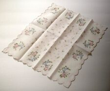 Vintage Ladies Hanky-Soft Pink & Blue Roses & Blue Dots on White-Scallop Edges