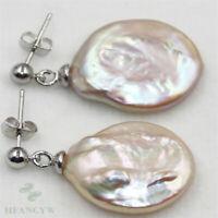 17-18mm Gold Baroque Pearl Earrings 18k Hook Fashion Dangler Mesmerizing TwoPin