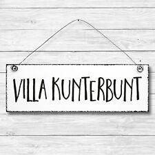 Shabby Holz Deko Wand Tür Schild VILLA KUNTERBUNT KinderZimmer Vintage Retro