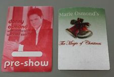 Lot Of 2 Donny & Marie Osmond Backstage Passes