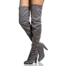 New Womens Over The Knee Suede Boots Block High Heel Lace Thigh Stretch Shoes