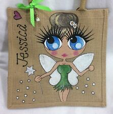 Personalised Hand painted Jute Fairy Tinkerbell Pixie Girl Gift Bag