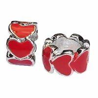 2PC Red Heart Ring Silver Plated Enamel Spacer Charms for European Bead Bracelet