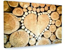 STUNNING LOVE HEART WOODLAND TREE LOG CANVAS PICTURE PRINT CHUNKY FRAME #3760