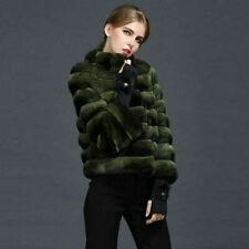 Dark Green Chinchilla Fur Jacket  Stand Up Collar European Premium Fur Maker