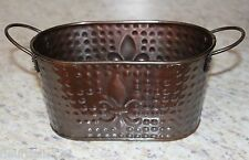 Metal Copper Fleur de lis Hammered Texture Tub