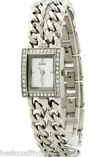GUESS MULTI STRAND CHAIN LINK SILVER TONE+PAVE CRYSTAL BEZEL SM WATCH U85119L1