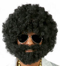 Deluxe Mens Black Curly Afro Wig And Beard 70's Hippy Disco Fancy Dress Costume