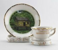 Vintage Lincoln Boyhood Home Knob Creek KY Souvenir Small Teacup Saucer & Stand