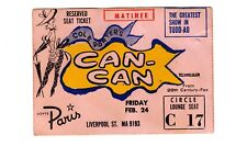 Vintage Can Can Movie Ticket Stub From 1961 Hoyts Paris Cinema Large Size Orig.