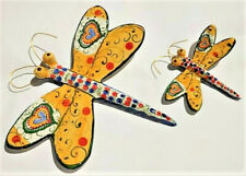 2x dragonfly hand painted Portuguese Ceramic Decorative garden fence nature