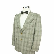 Vtg 70s Mens Sports Coat 40R Polyester Green Plaid 2 Button Single Vent Disco