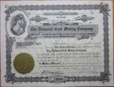 'Diamond Coal Mining Company' 1943 Stock Certificate - Delaware DE