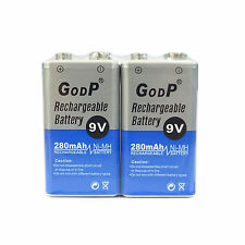 2 pcs 9V 9.0V Volt 280mAh Ni-MH rechargeable battery PP3 block GODP US Stock