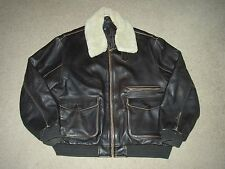 Distressed Brown Leather A-2 Style Bomber Jacket XL Removable Sherpa Collar