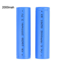 2 Pcs 2000mAh 3.7V 18650 Rechargeable Li-ion Battery For Flashlight LO Torch