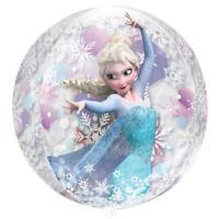 "Disney Frozen Birthday Party Anna Elsa 15"" x 16"" Orbz Round Clear Foil Balloon"